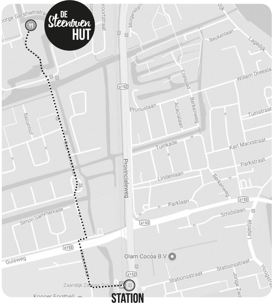 tekening van de kaart om naar Hut De Steenoven te gaan