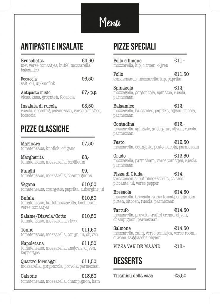 De Steenoven Hut menu 2019